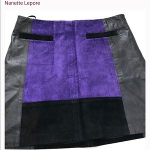 NANETTE LEPORE / 'leisure' lined leather skirt